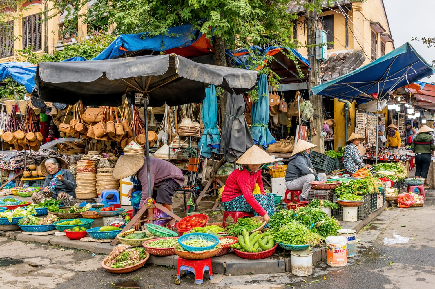 Fresh vegetables in traditional street market in Hoi An, Vietnam.