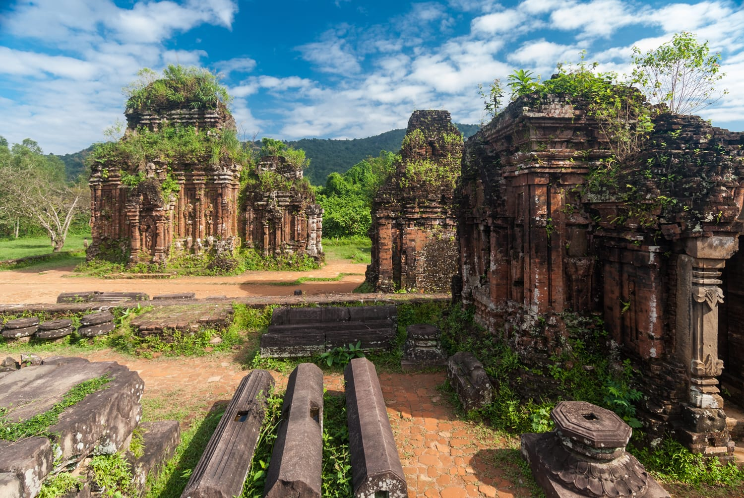 Remains of Hindu tower-temples at My Son Sanctuary, a UNESCO World Heritage site in Vietnam
