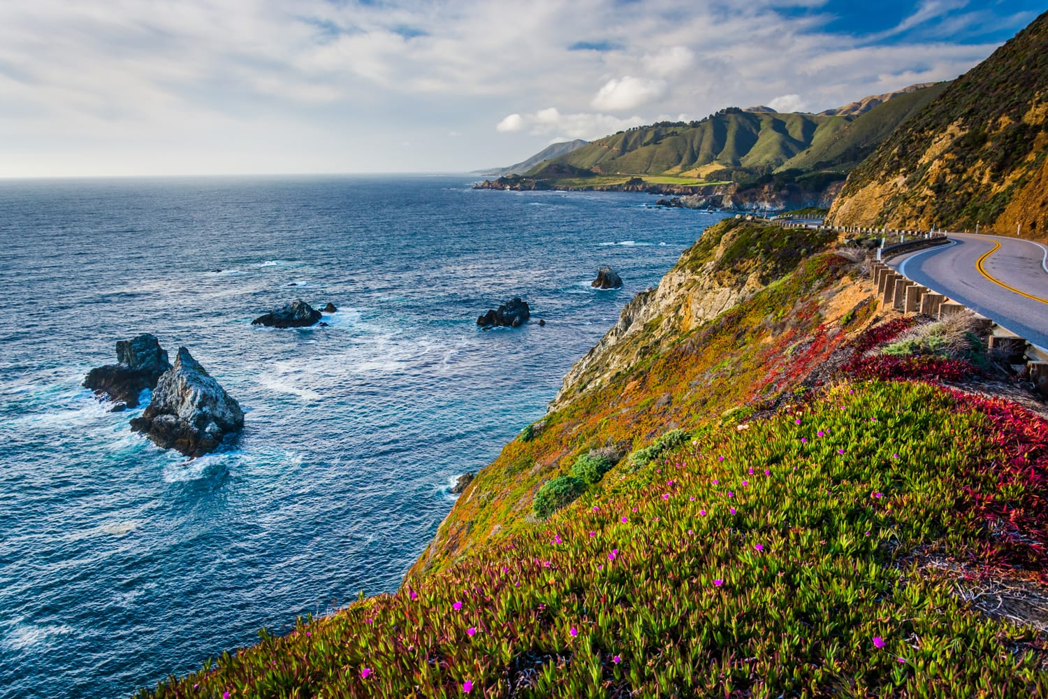 View of the Pacific Ocean and Pacific Coast Highway in Big Sur, California.