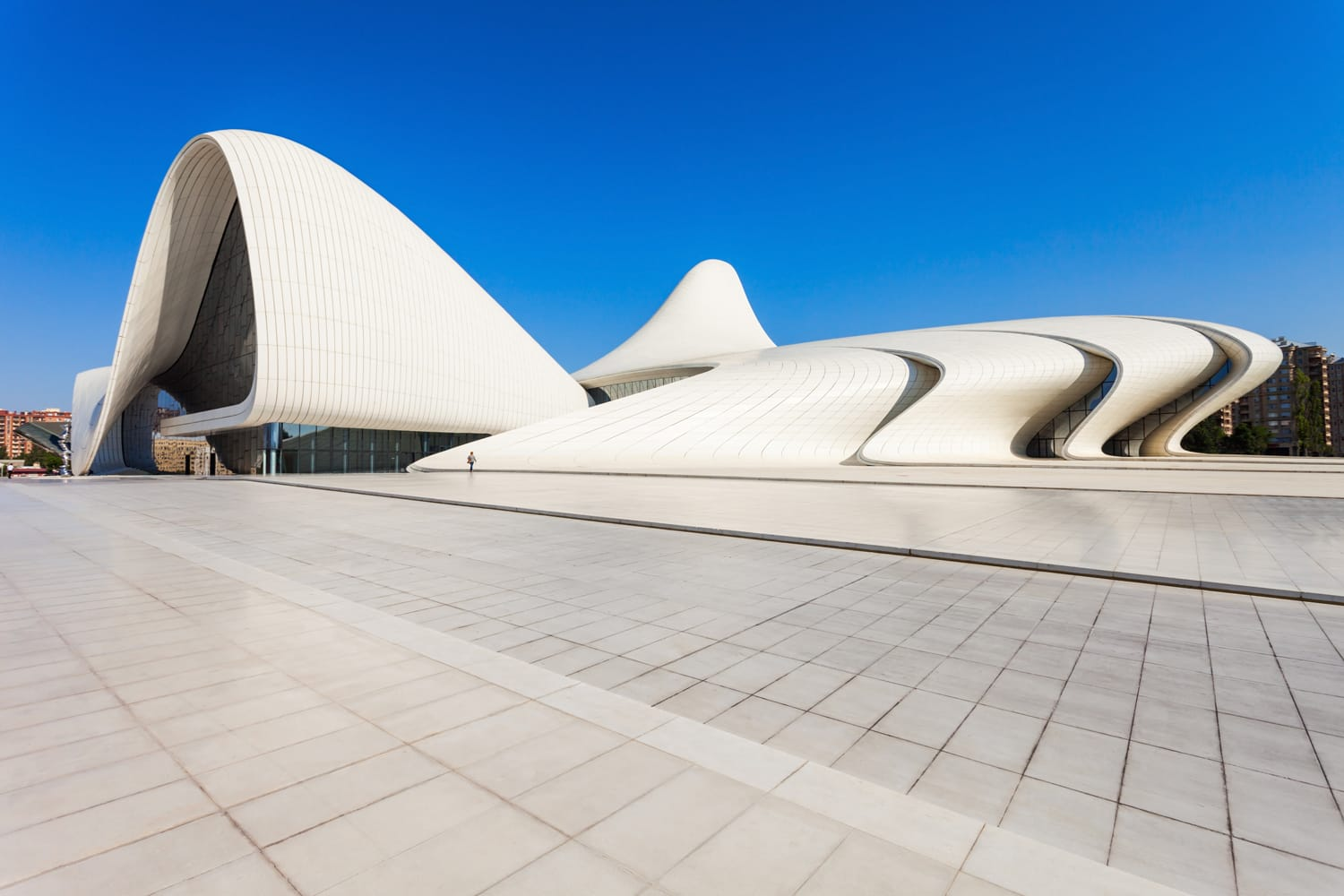 The Heydar Aliyev Center is a building complex in Baku, Azerbaijan designed by Zaha Hadid and noted for its distinctive architecture and flowing, curved style.