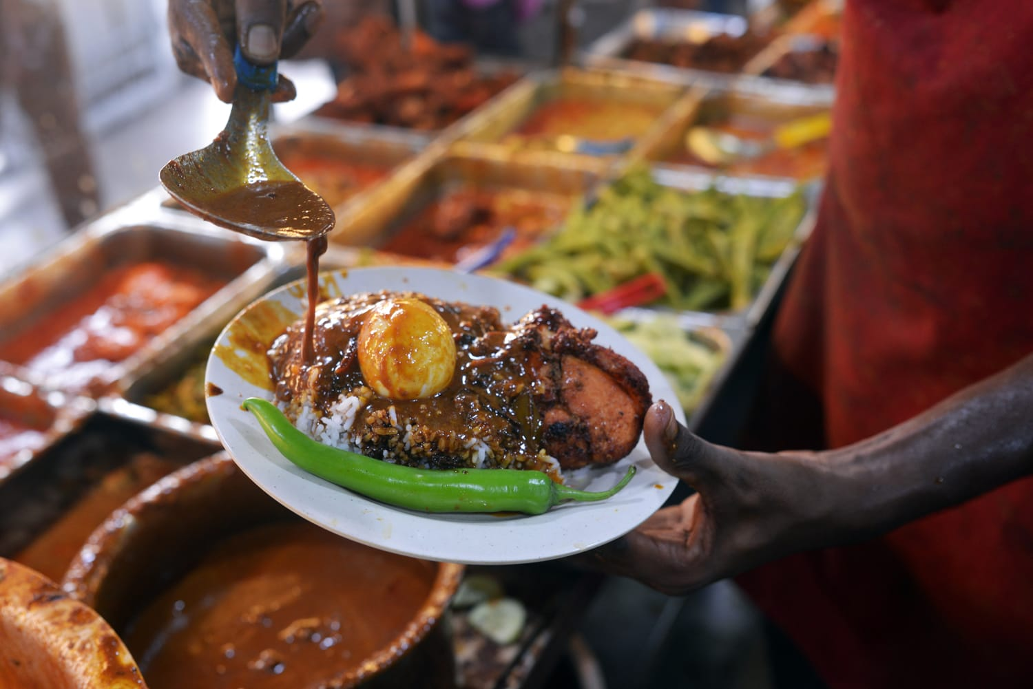 Close up the popular Nasi Kandar or Kandar Rice in Penang, Malaysia