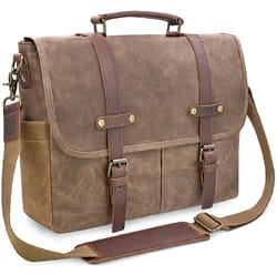 NEWHEY Vintage Leather Canvas Briefcase