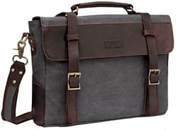 Vaschy Vintage Leather Canvas Briefcase