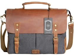 Wowbox Vintage Canvas Leather Laptop Briefcase