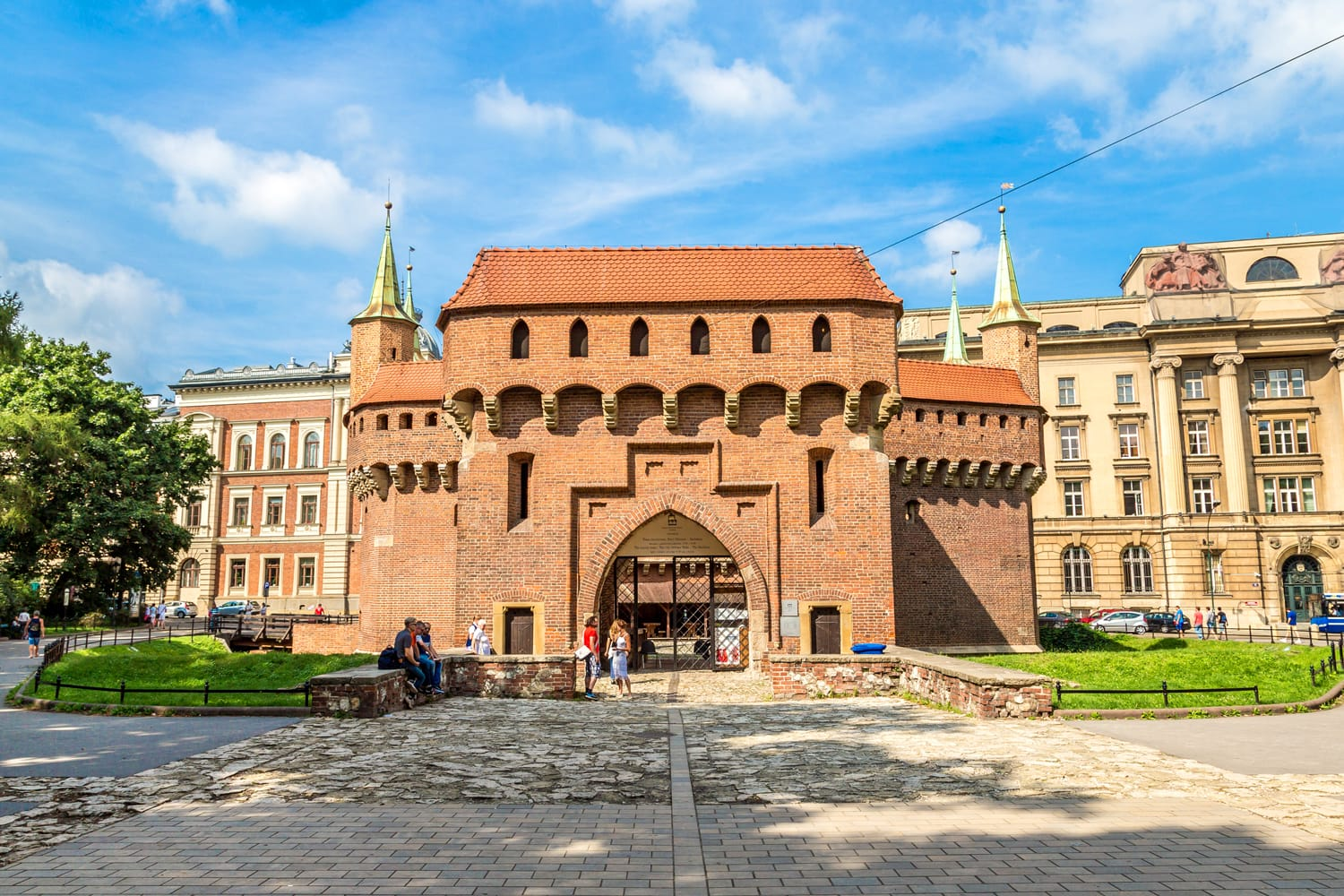 Barbican in a historical part of Krakow, Poland