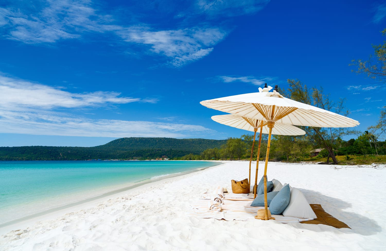 Landscape photo of beautiful white sand exotic beach on Koh Rong island in Cambodia