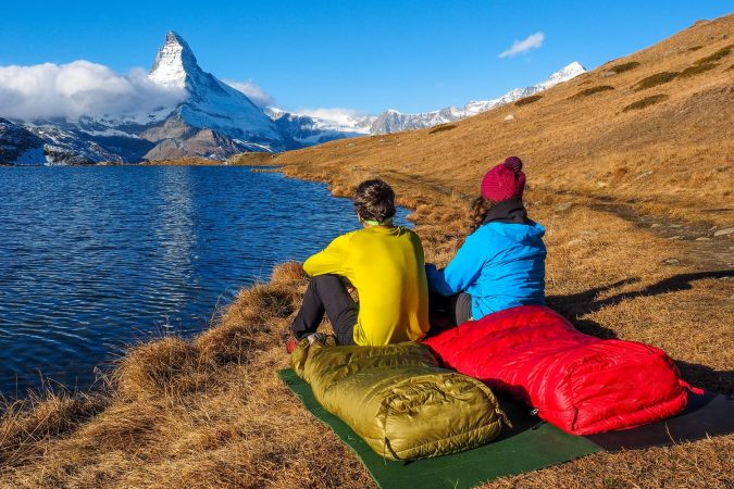 Tent near Matterhorn during early morning with relfection in StelliSee, Zermatt, Switzerland