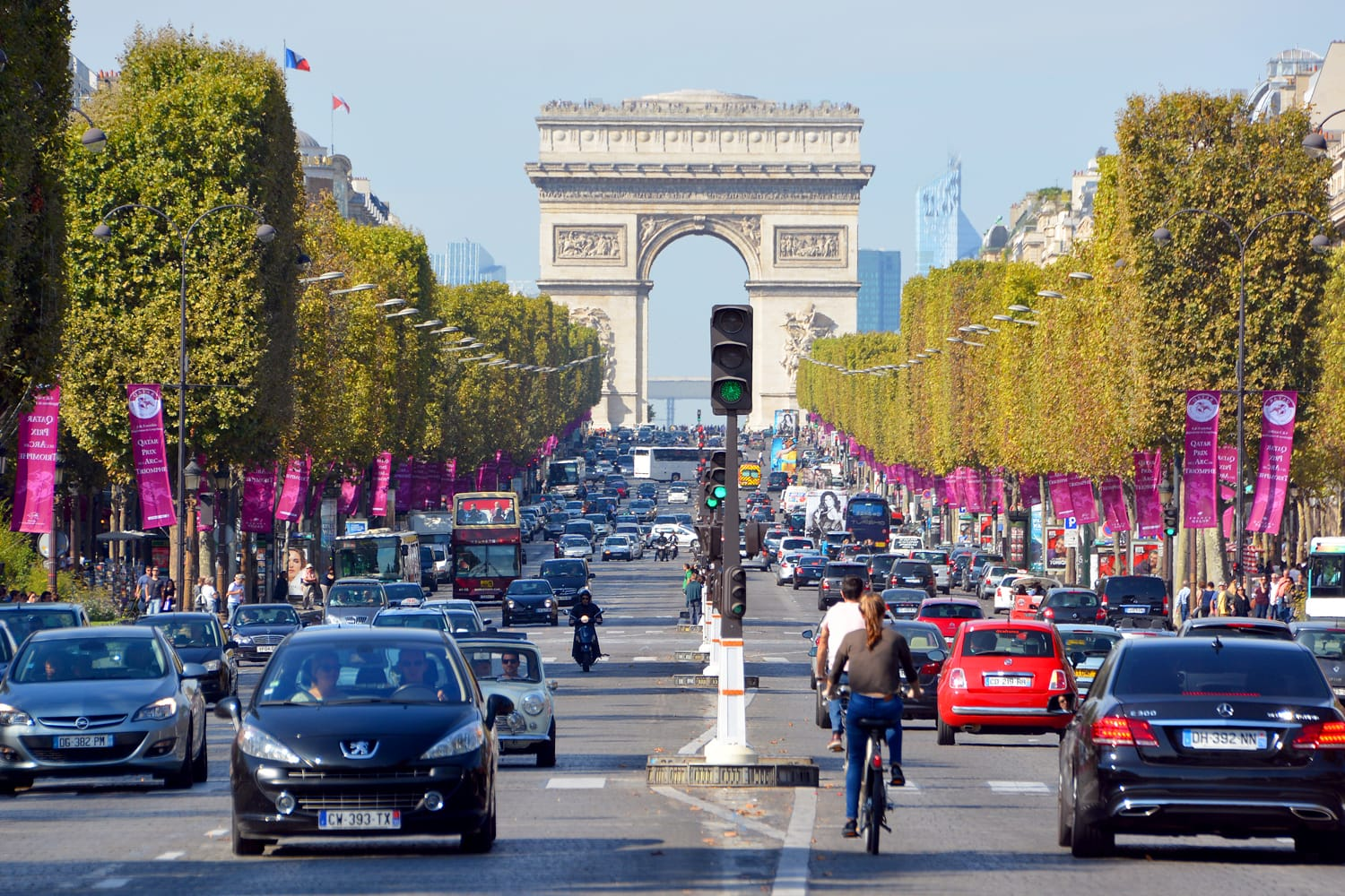 The Champs-Elysees and the Triumphal Arch de l Etoile the most famous avenue of Paris has 1910m and is full of stores, cafes and restaurants.