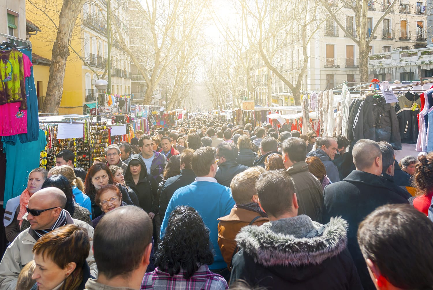 Scene from El Rastro flea market in Madrid, Spain.