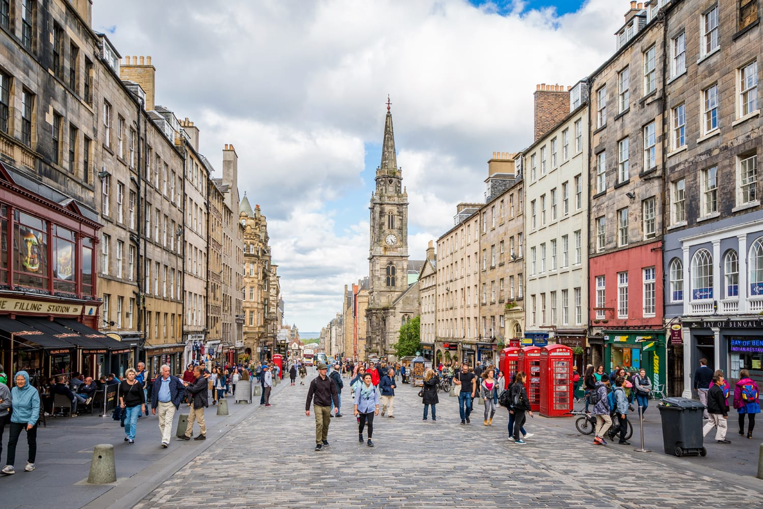 The famous Royal Mile in Edinburgh on a summer afternoon, Scotland.