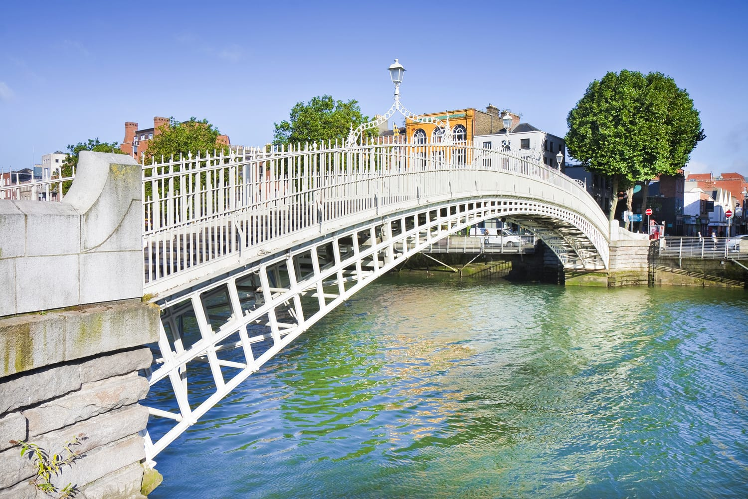 "The most famous bridge in Dublin called ""Half penny bridge"" due to the toll charged for the passage"