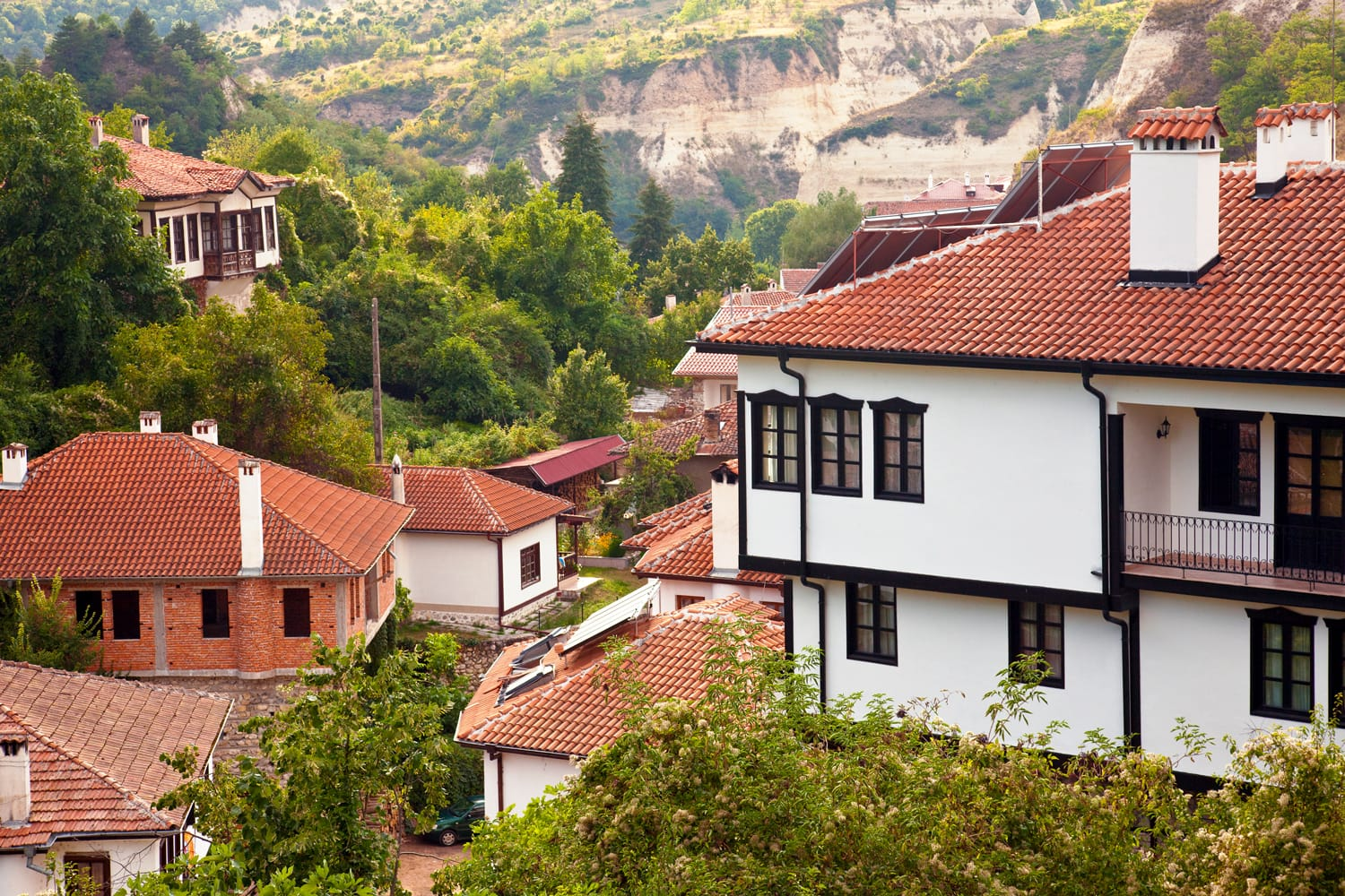 Top view of houses in historic Melnik, Bulgaria.