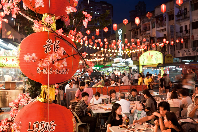 Street restaurant Jalan Alor in heart of Kuala Lumpur.
