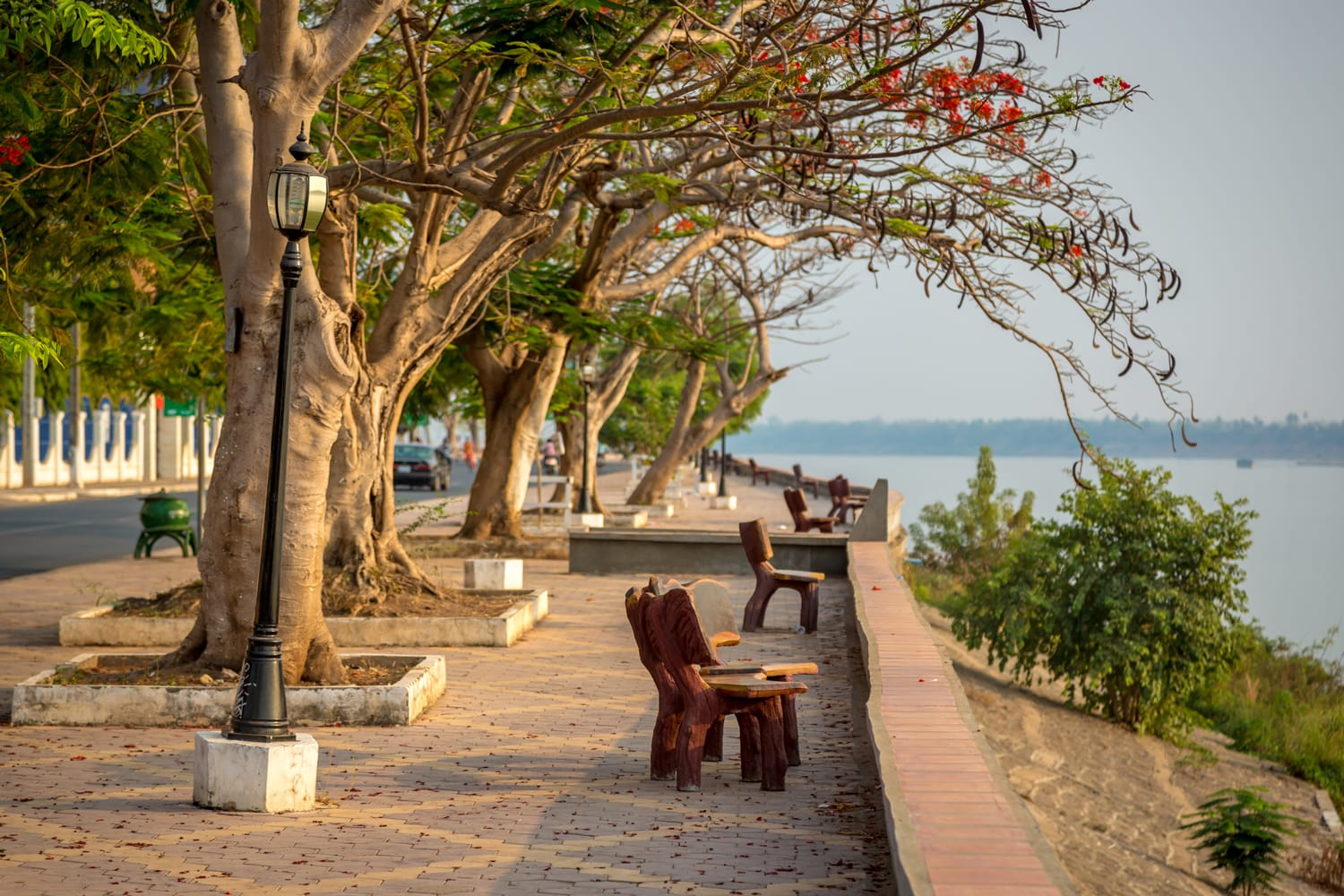 Nice open area in front of the Mekong River in Kratie City, northern of Cambodia.