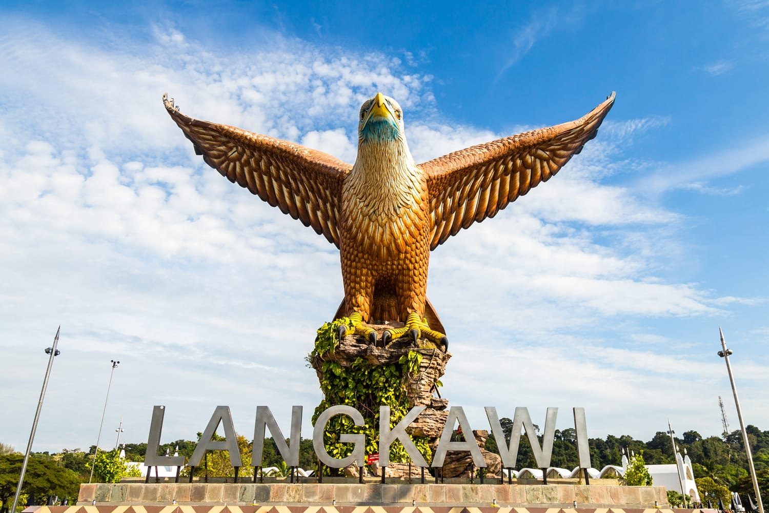 Eagle Square in Langkawi, near the Kuah port, in late afternoon light. This giant Eagle statue is the symbol of Langkawi island, Malaysia