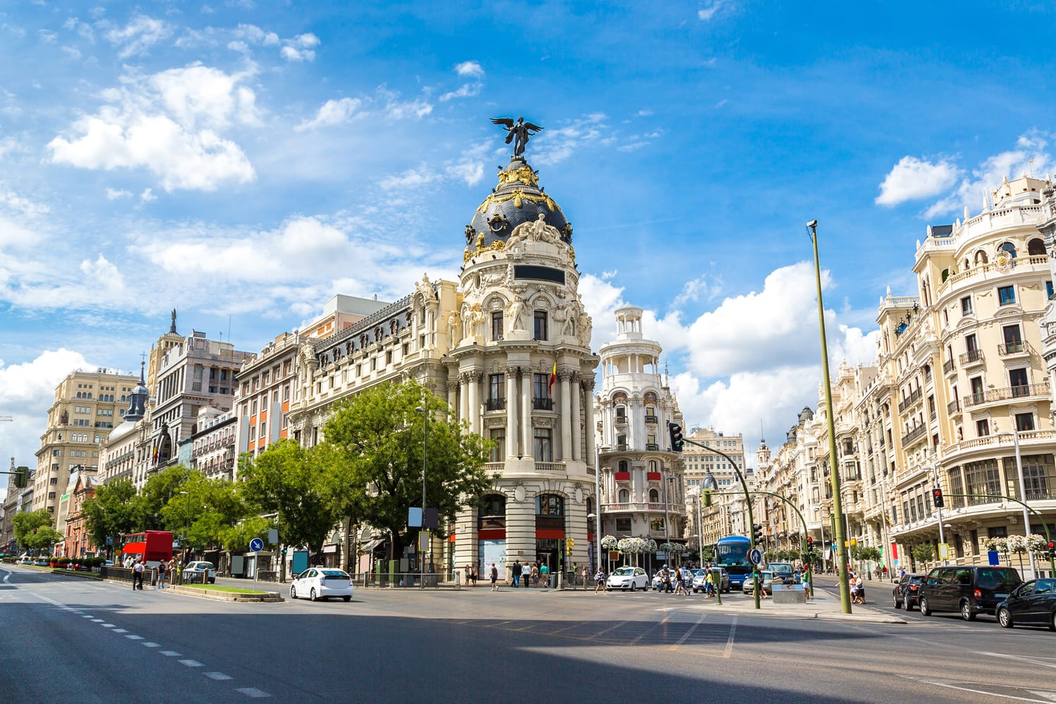 Metropolis hotel in Madrid on a beautiful summer day