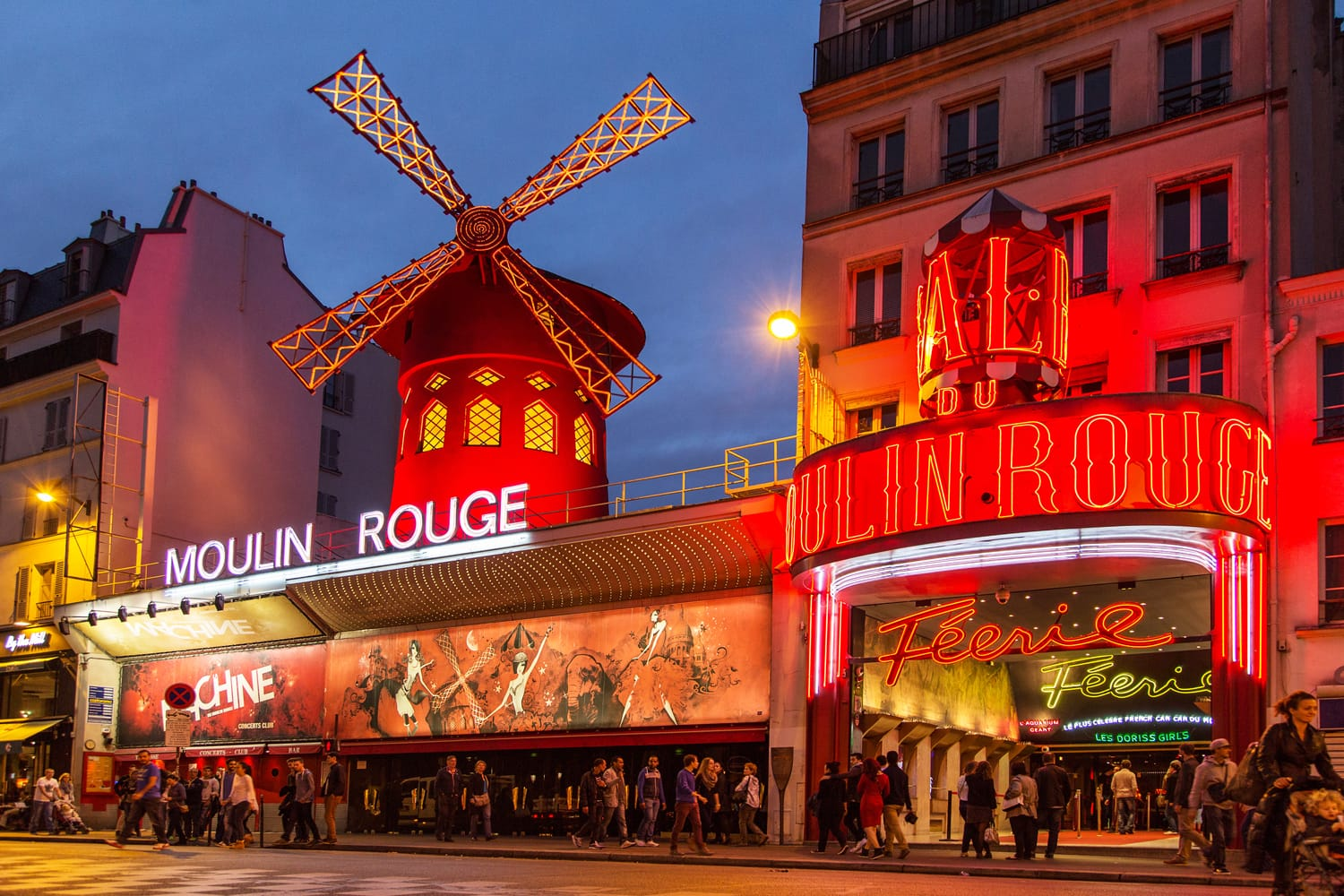 Moulin Rouge in Paris at night