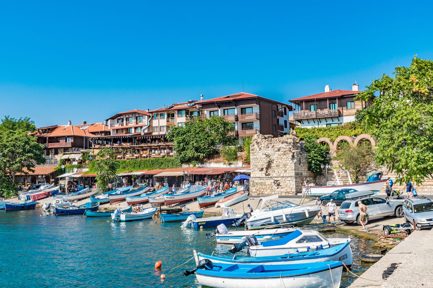 Street view of the port in the Ancient City of Nesebar, Bulgaria.