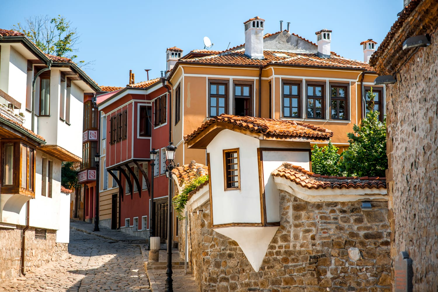 Old city street view with colorful buildings in Plovdiv, Bulgaria