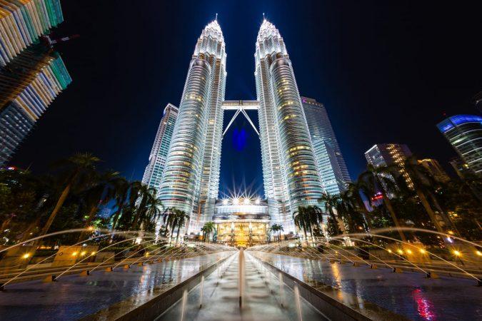 Petronas Towers in Kuala Lumpur, Malaysia at night