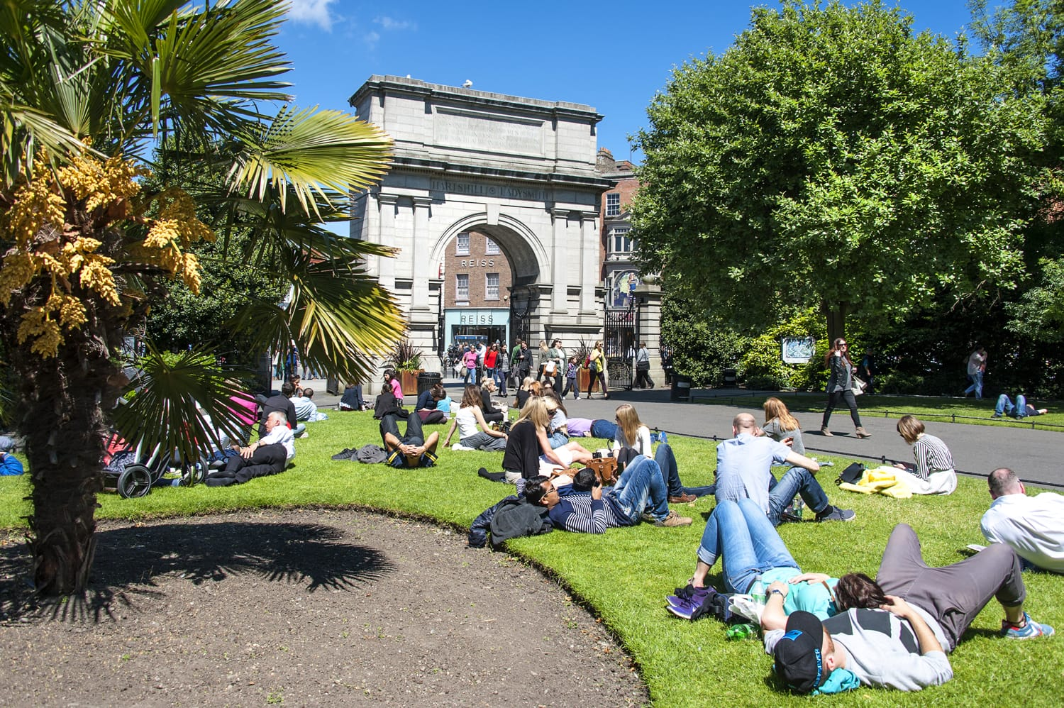 St. Stephen's Green next to Fusilier's Arch in Dublin, Ireland