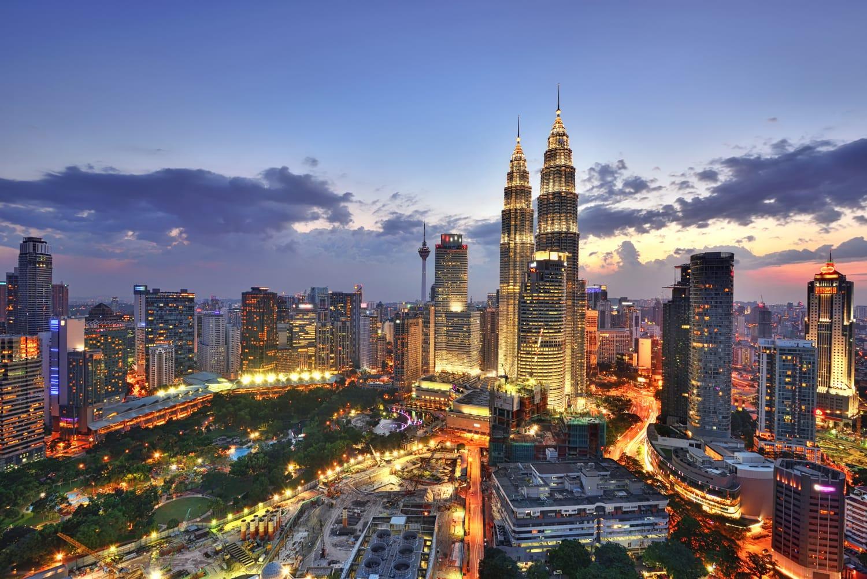 Skyline of Kuala Lumpur at sunset