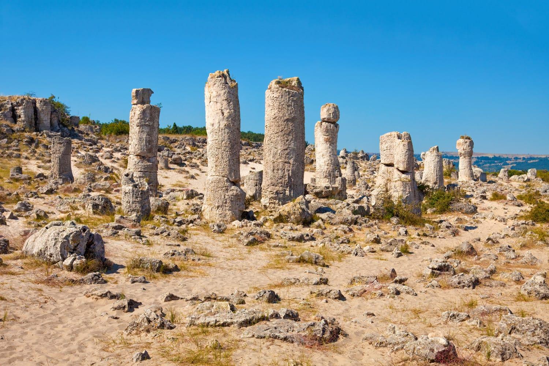 Panoramic view of the Upright Stones natural phenomenon near Varna, Bulgaria.