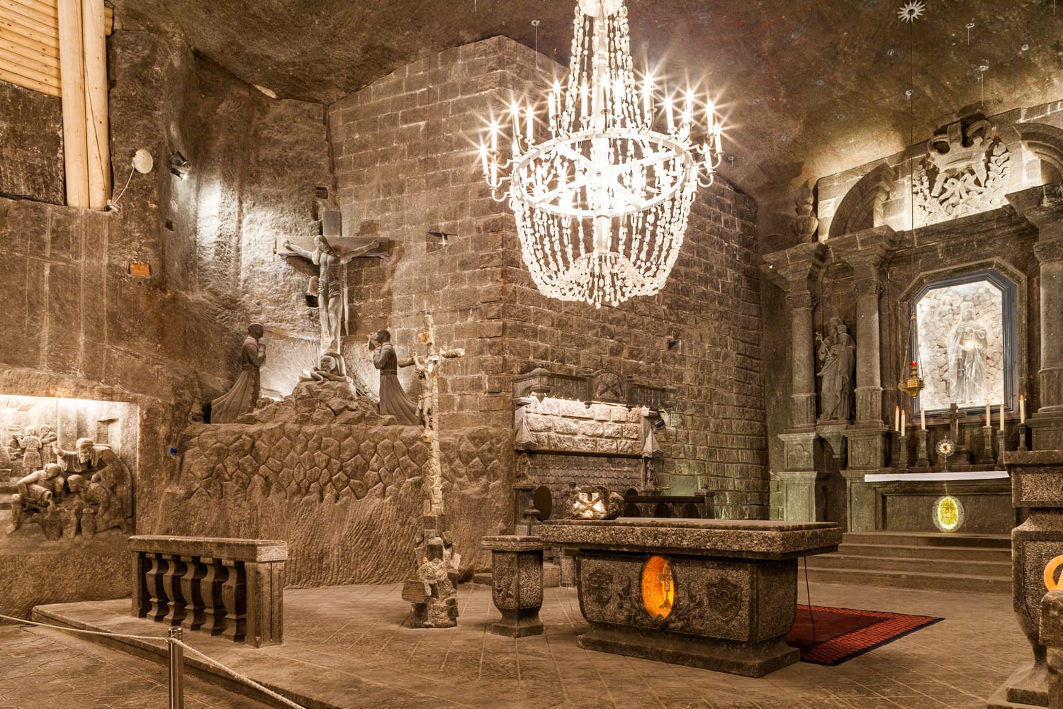 The Chapel of St. Kinga is the most famous chamber in underground Wieliczka salt museum
