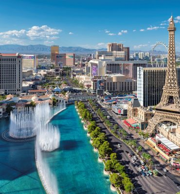 Aerial view of fountain show and Las Vegas strip in Nevada