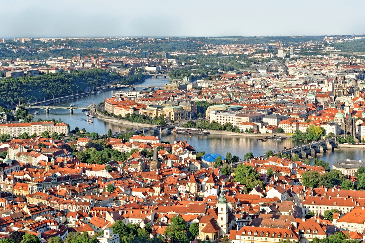 Aerial view of Prague, Czech Republic from Petrin Hill Observation Tower.