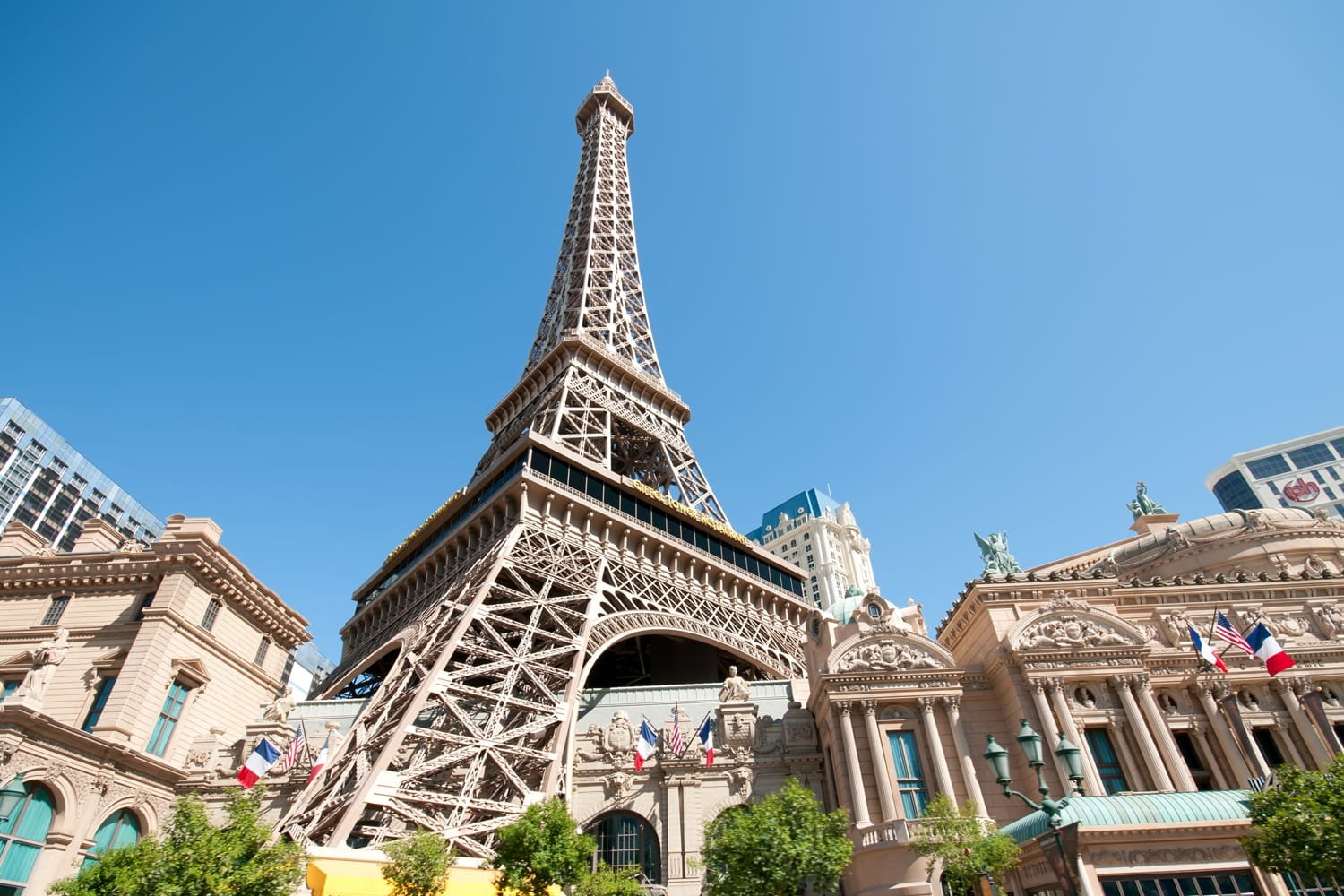 Replica Eiffel Tower in Las Vegas with clear blue sky