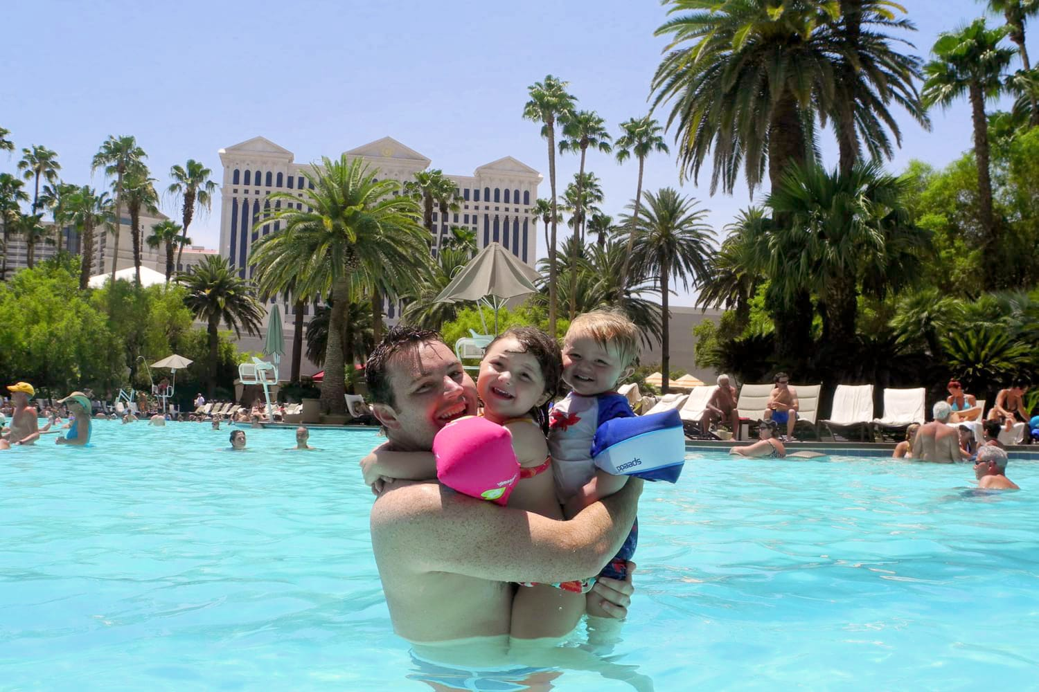 Family at the Mirage Pool in Las Vegas