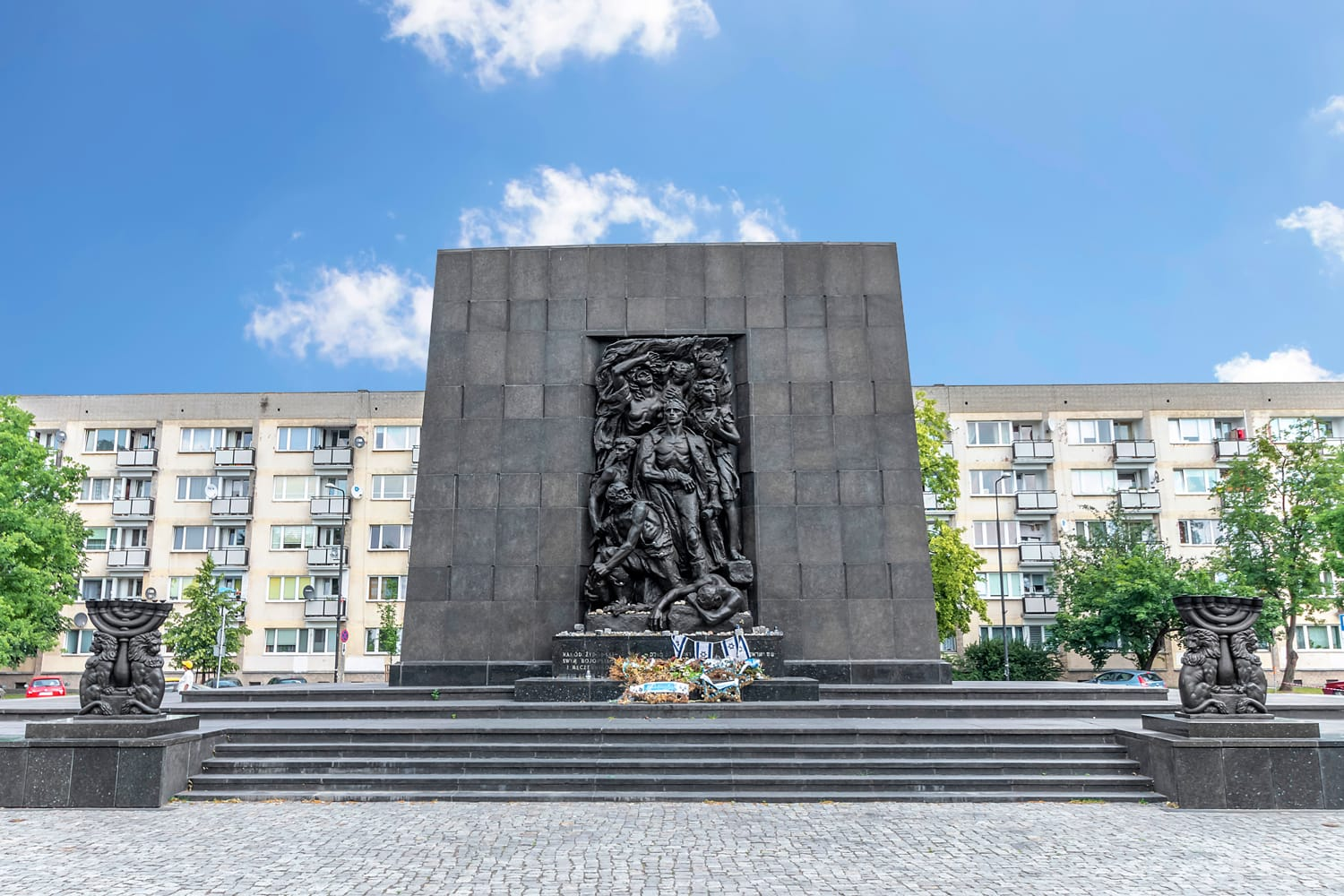 Monument to the Ghetto Heroes in Warsaw city center.