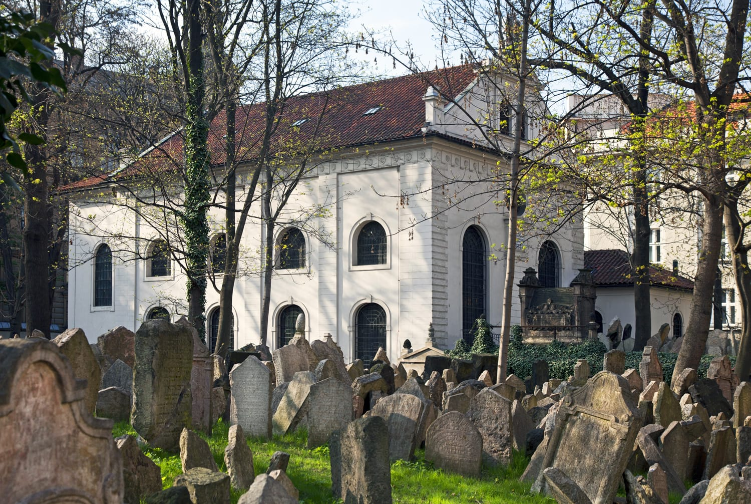 Old Jewish Cemetery is situated in Josefov quarter by Old-New Synagogue in Prague