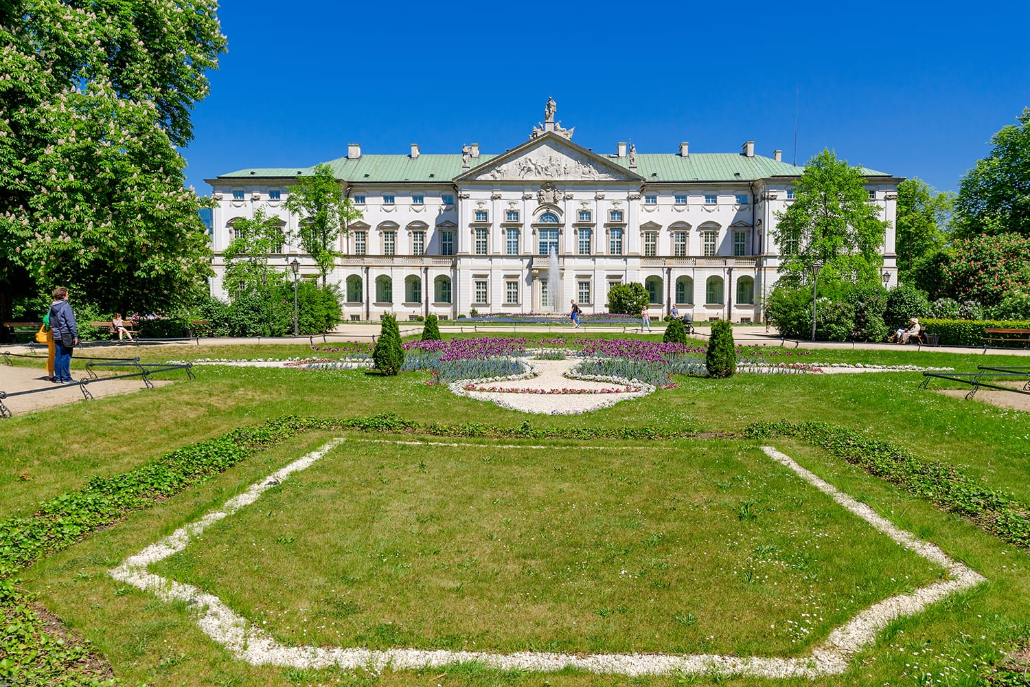 Krasinski Palace (or Palace of the Commonwealth), baroque palace and garden built in 17th century. Nowadays National Library special collections seat. Warsaw, Poland