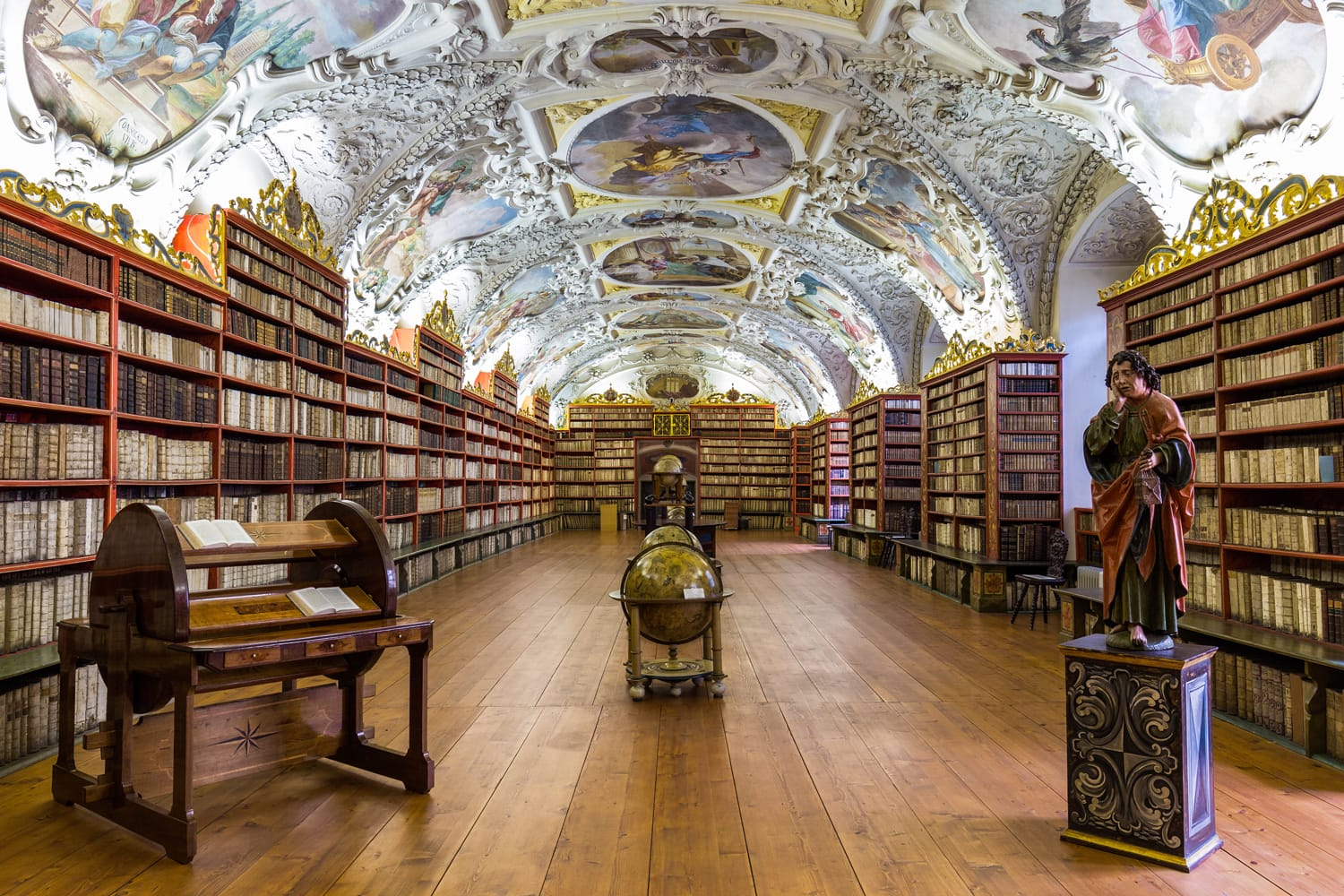 Historical library of Strahov Monastery in Prague,