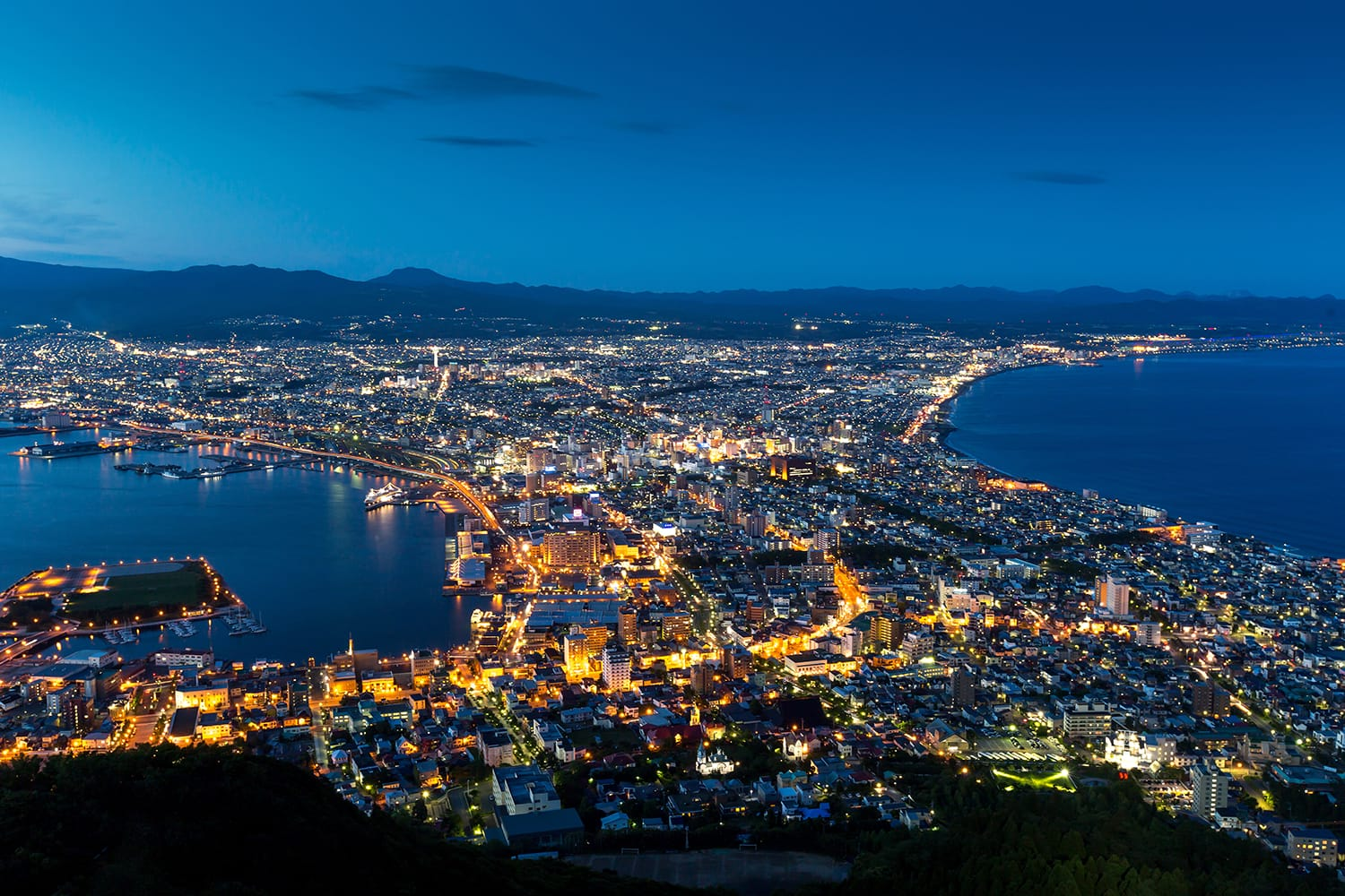 Hakodate City view from Mountain Hakodate, winter season, Hokkaido, Japan