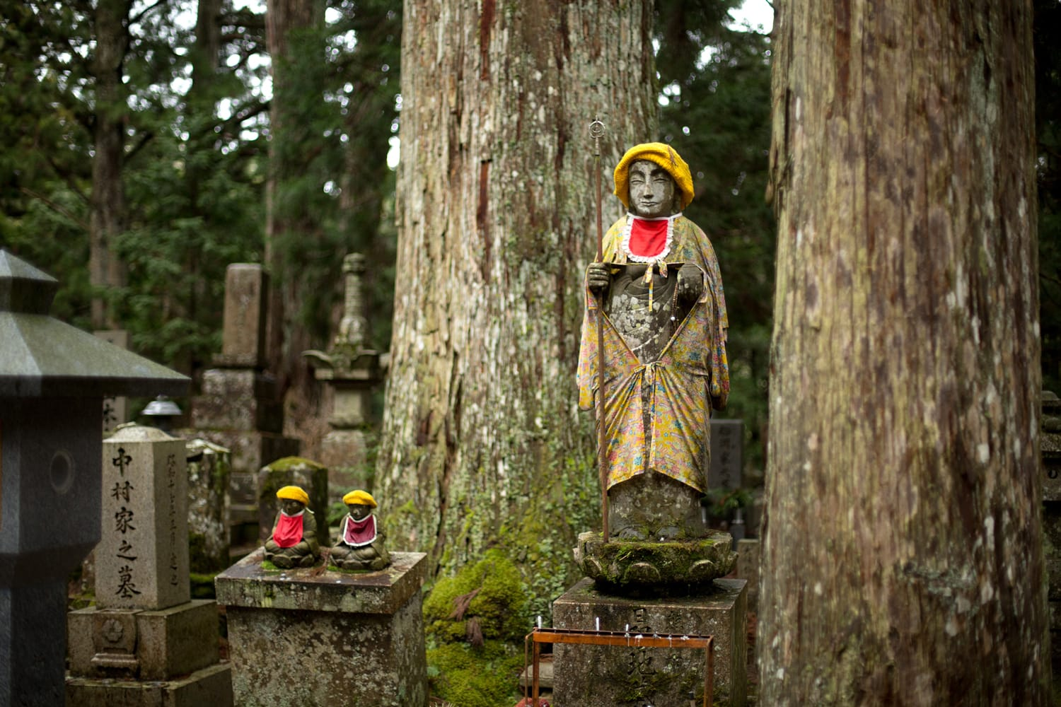 Gravestones and statues on Okunoin cemetery, Koyasan, Japan