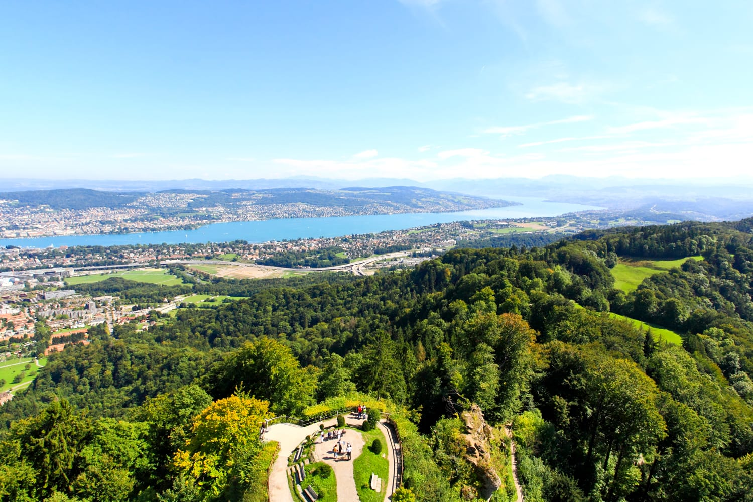 The aerial view of Lake Zurich from the top of Mount Uetliberg