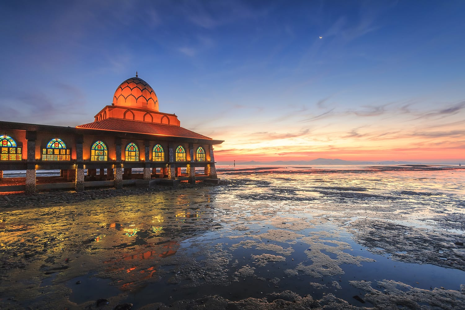 Al-Hussain Mosque at the sunset in Kuala Perlis, Perlis, Malaysia