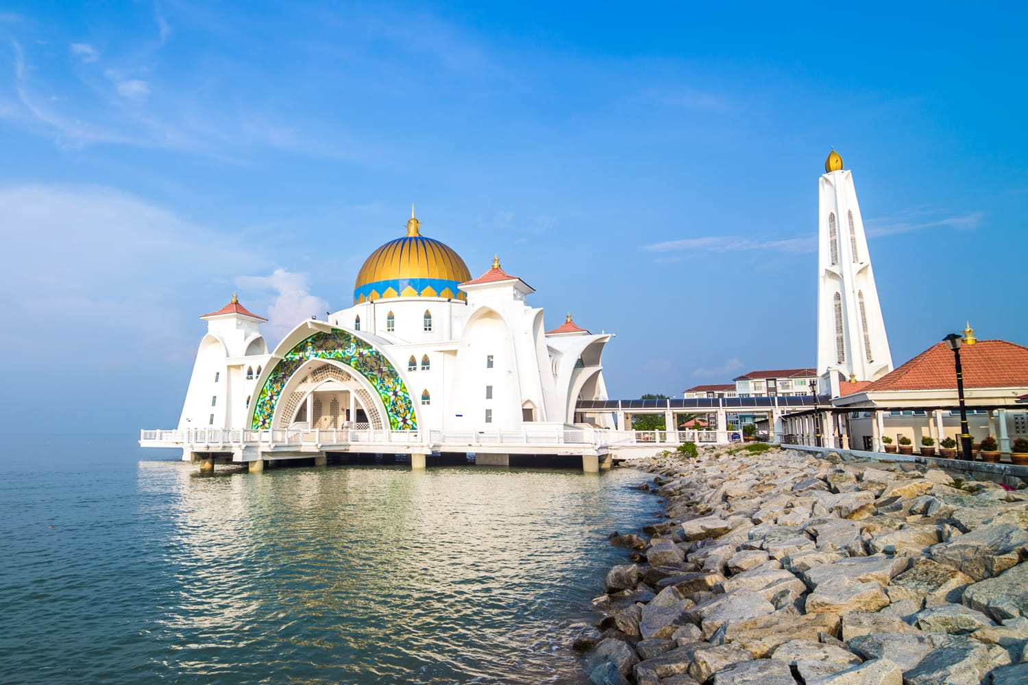 Malacca Straits Mosque ( Masjid Selat Melaka) located on the man-made Malacca Island near Malacca city, Malaysia