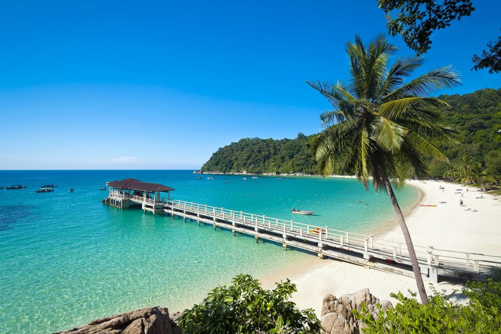 The beautiful island of Pulan Perhentian with its turquoise water and white sand beaches offers amazing snorkelling for tourists.