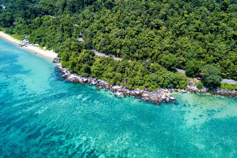 Pulau Tioman in Malaysia seen from a drone