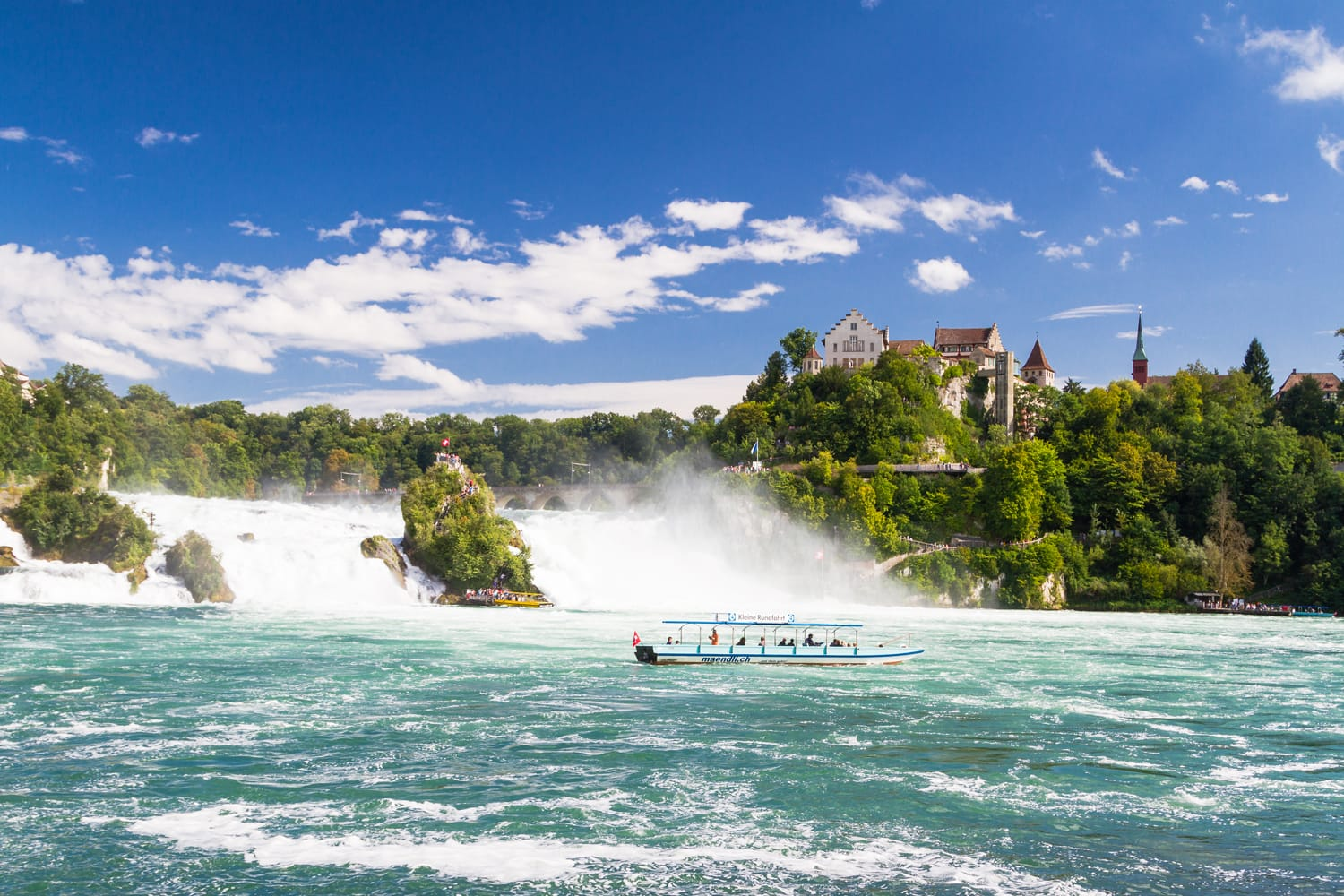 The Rhine Falls in Schaffhausen, Switzerland. The Rhine Falls is the largest waterfall in Europe.