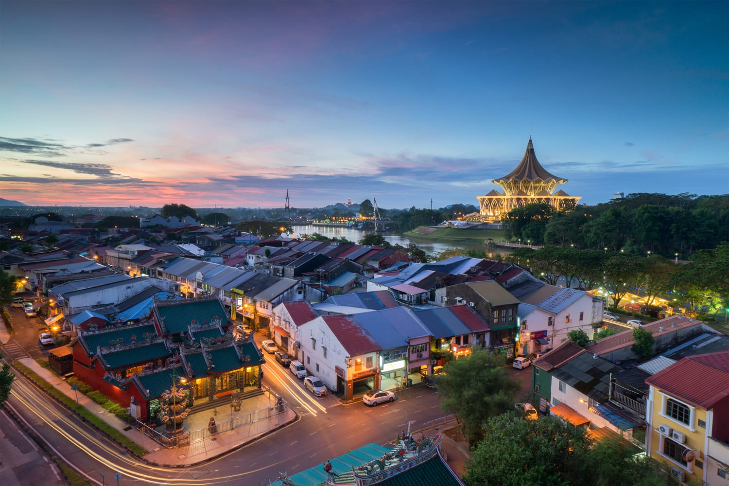Kuching City in Malaysia during sunset