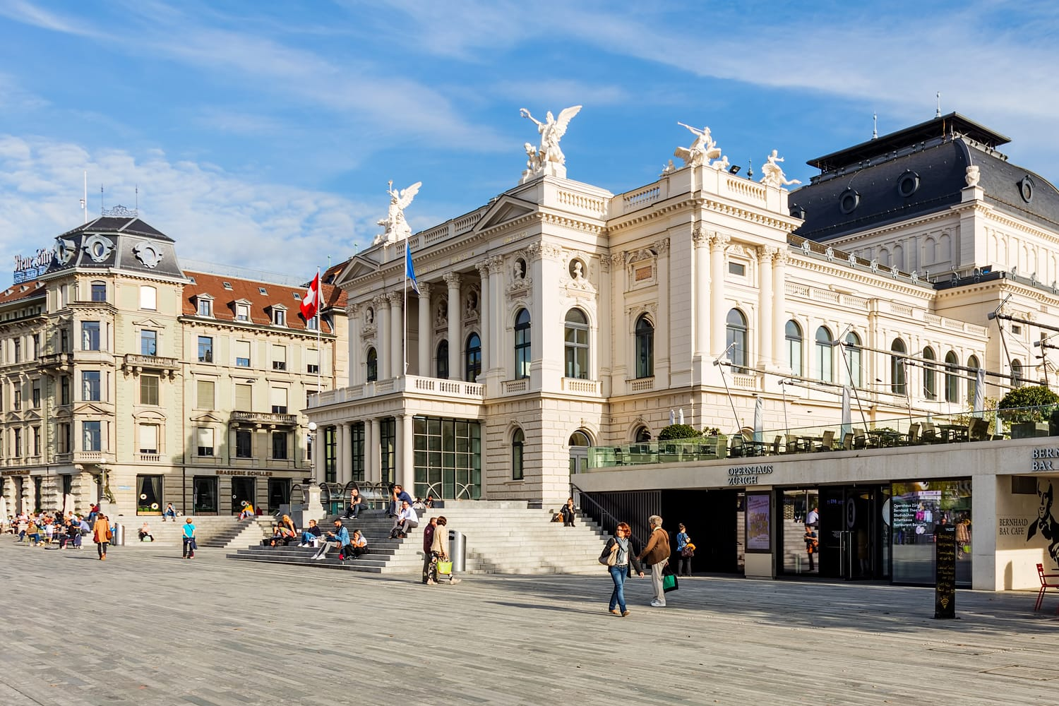 Zurich Opera House building, view from Sechselautenplatz square