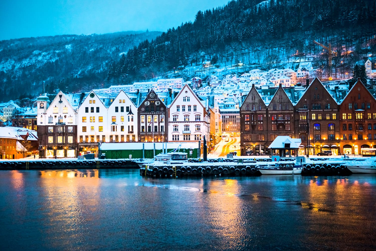 Night view on Bergen in Norway