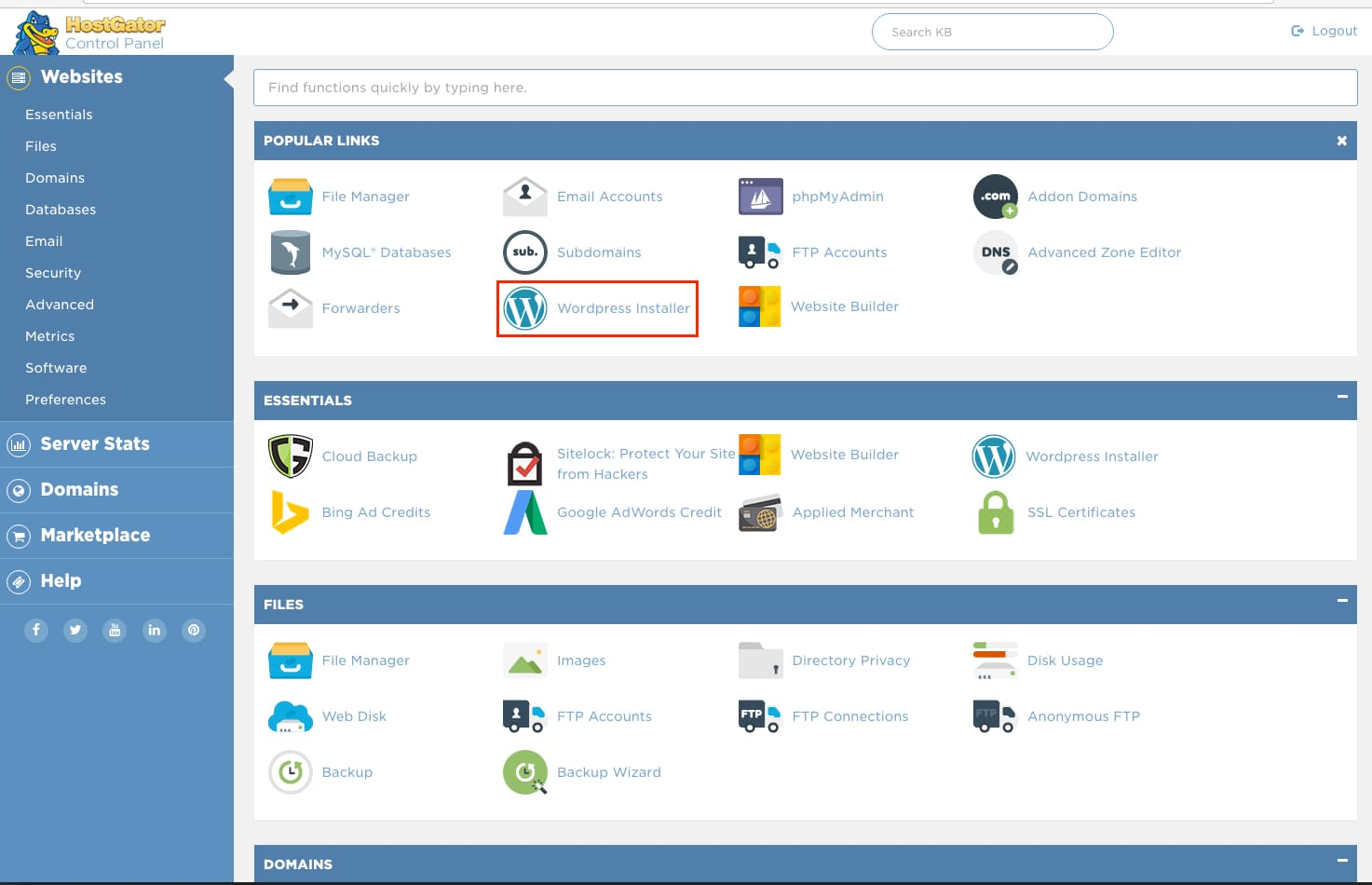 Install WordPress with Hostgator cPanel