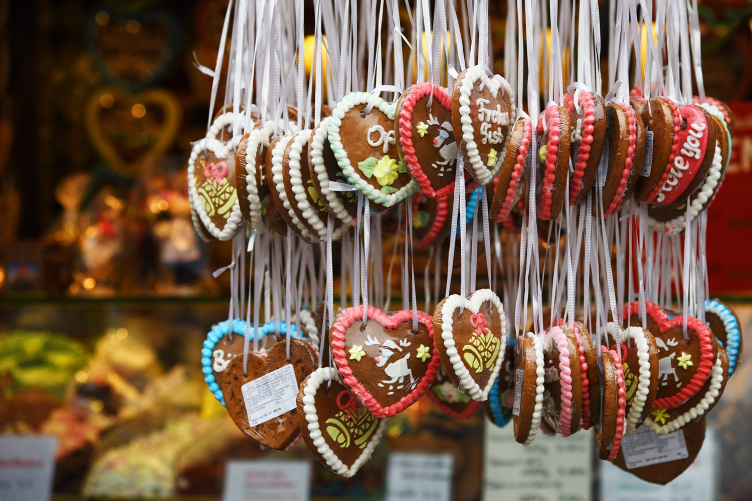 Gingerbread hearts sold at a Christmas market in Germany