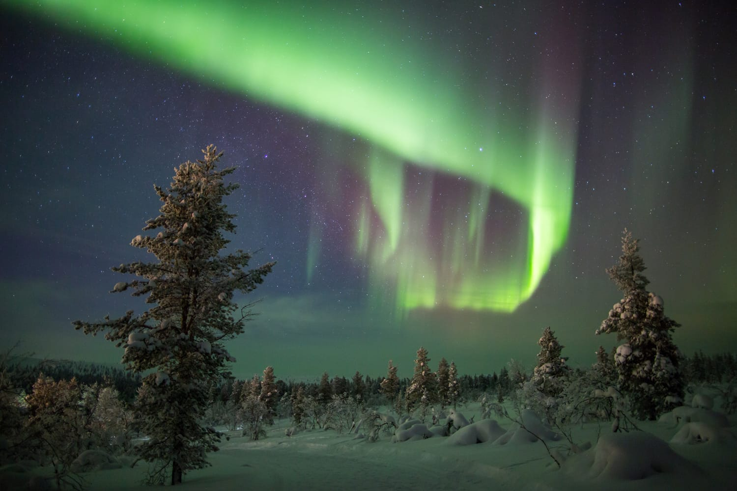 Northern lights (aurora borealis) in Lapland, Finland.